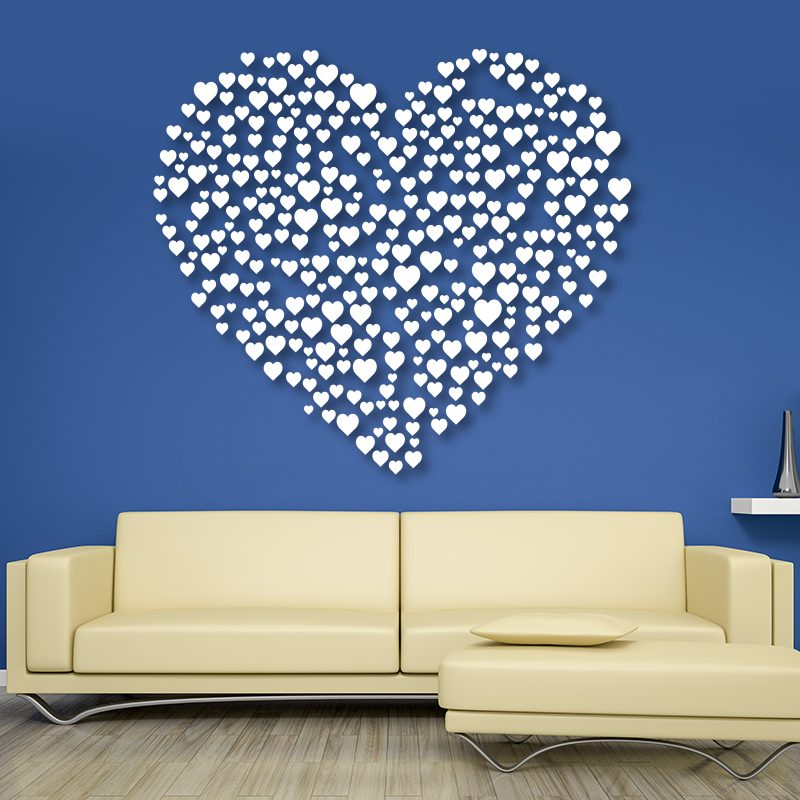 Blue &  White Heart Wall Decals