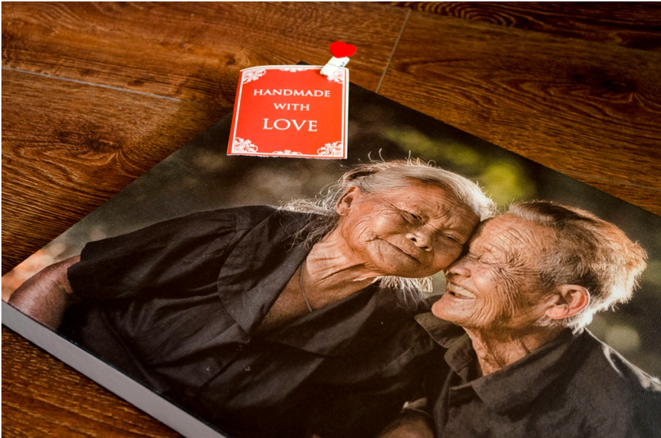 Asian old couple photo printed on canvas