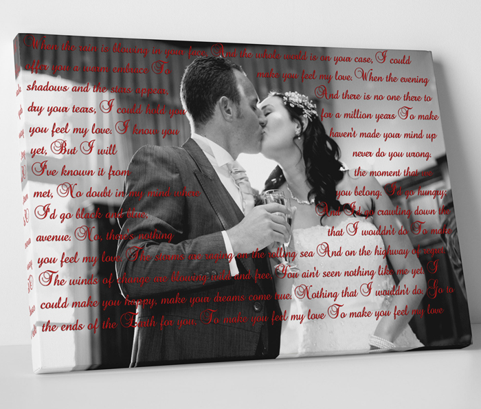 Lyrics on Canvas on Couples wedding photo