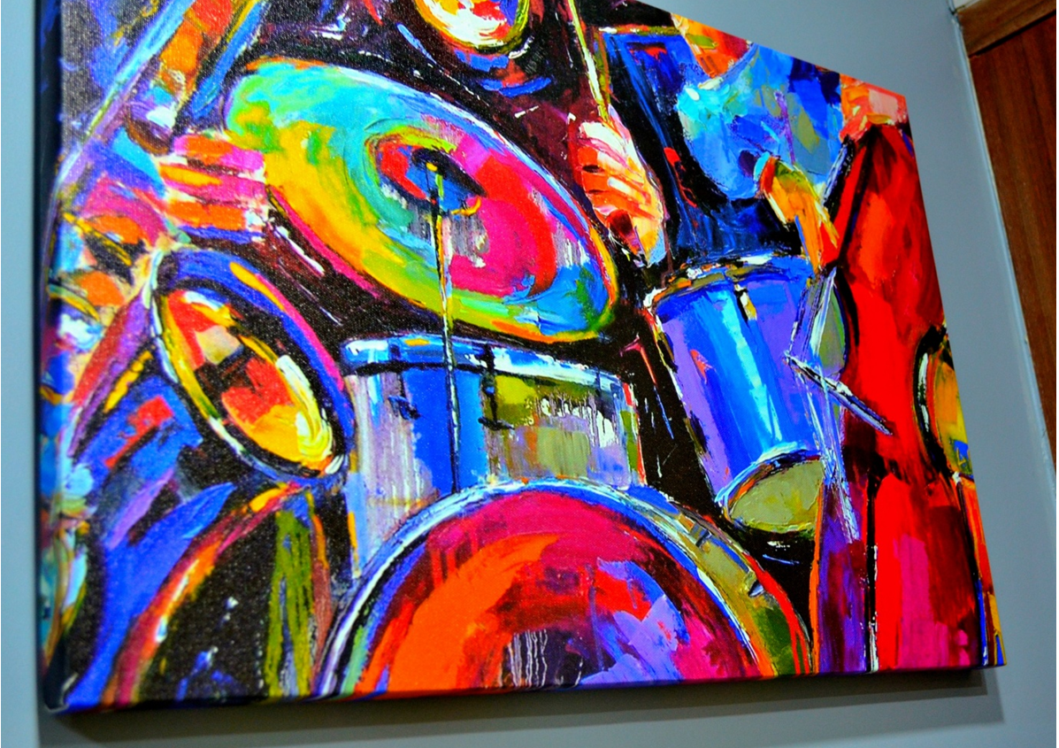 Music instruments art printed on canvas