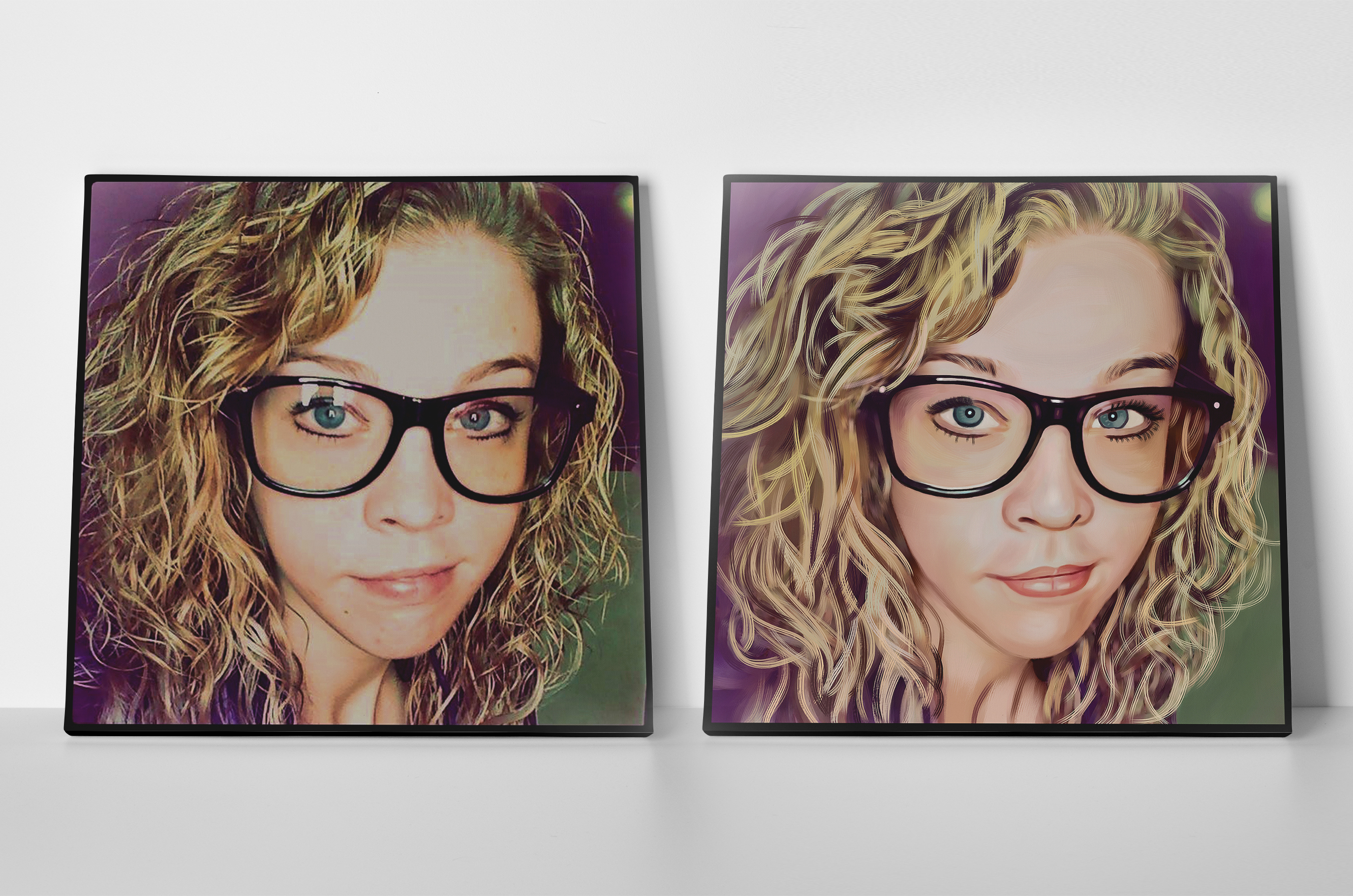 Beautiful girl's Pixel Painting on canvas